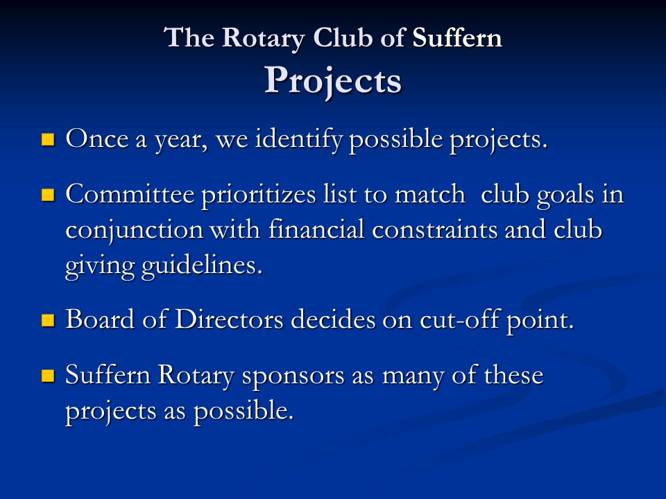 The Rotary Club of Suffern Recent Projects Donated the Community Bulletin Board in the center of Suffern in Avon Park.