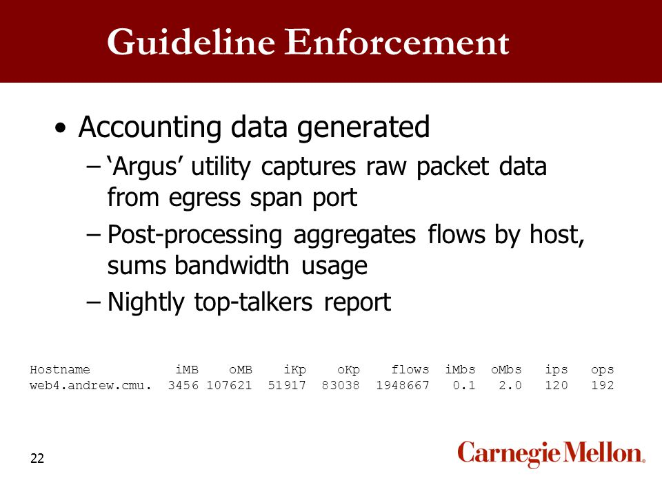 22 Guideline Enforcement Accounting data generated –'Argus' utility captures raw packet data from egress span port –Post-processing aggregates flows b