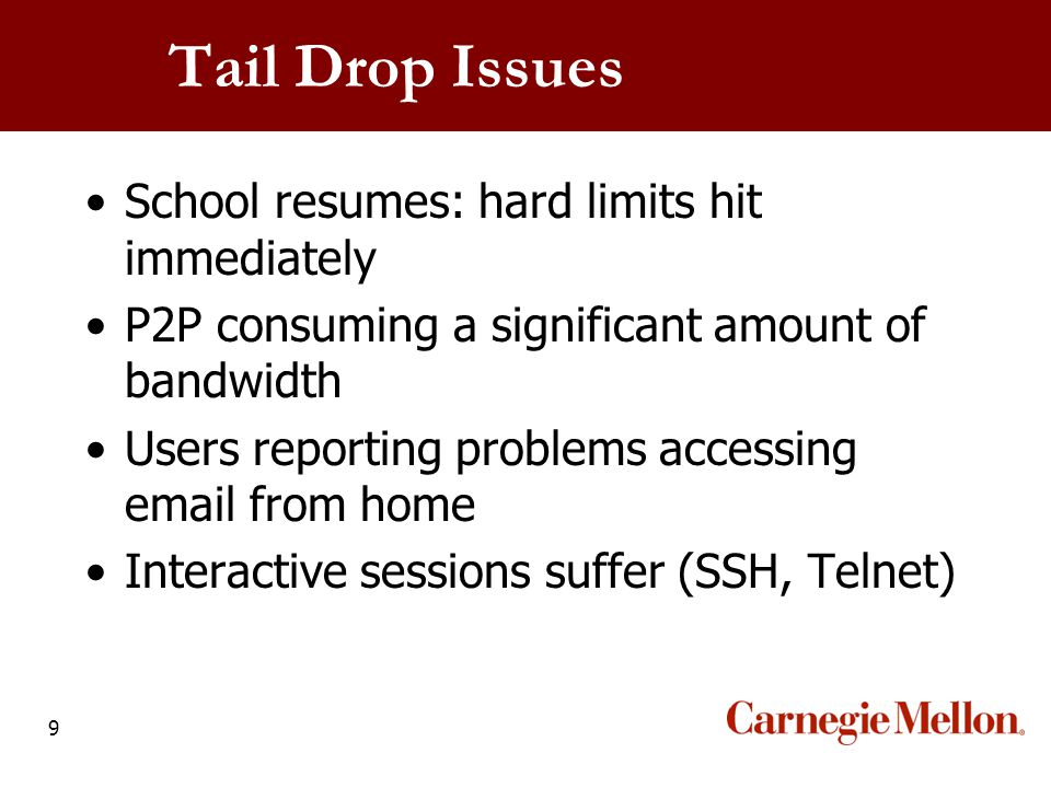 9 Tail Drop Issues School resumes: hard limits hit immediately P2P consuming a significant amount of bandwidth Users reporting problems accessing emai