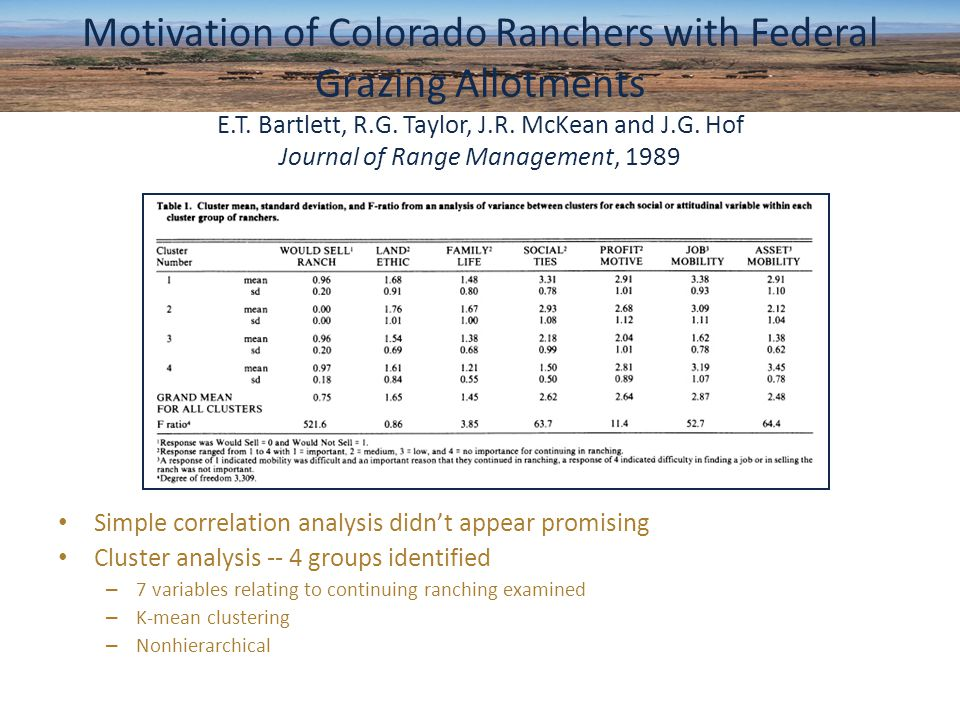Simple correlation analysis didn't appear promising Cluster analysis -- 4 groups identified – 7 variables relating to continuing ranching examined – K-mean clustering – Nonhierarchical Motivation of Colorado Ranchers with Federal Grazing Allotments E.T.