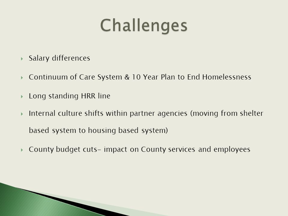  Salary differences  Continuum of Care System & 10 Year Plan to End Homelessness  Long standing HRR line  Internal culture shifts within partner agencies (moving from shelter based system to housing based system)  County budget cuts- impact on County services and employees