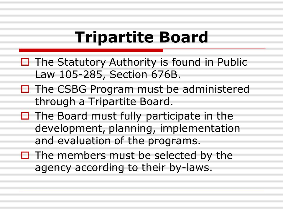 Tripartite Board  The Statutory Authority is found in Public Law 105-285, Section 676B.