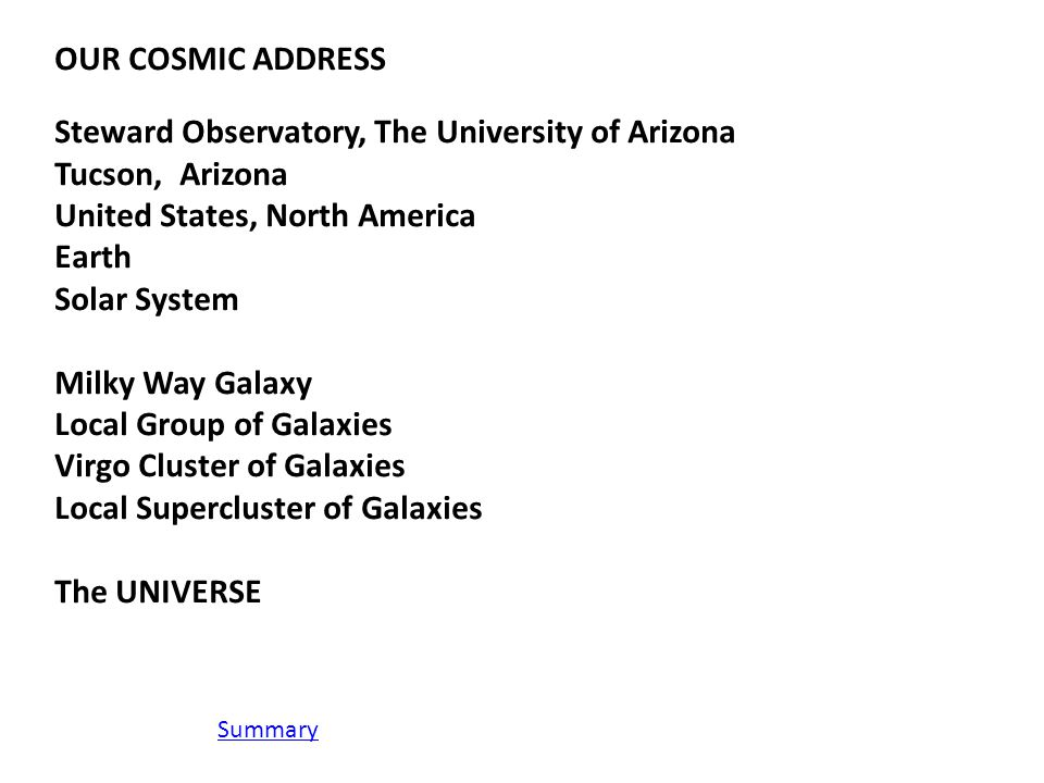 OUR COSMIC ADDRESS Steward Observatory, The University of Arizona Tucson, Arizona United States, North America Earth Solar System Milky Way Galaxy Local Group of Galaxies Virgo Cluster of Galaxies Local Supercluster of Galaxies The UNIVERSE Summary