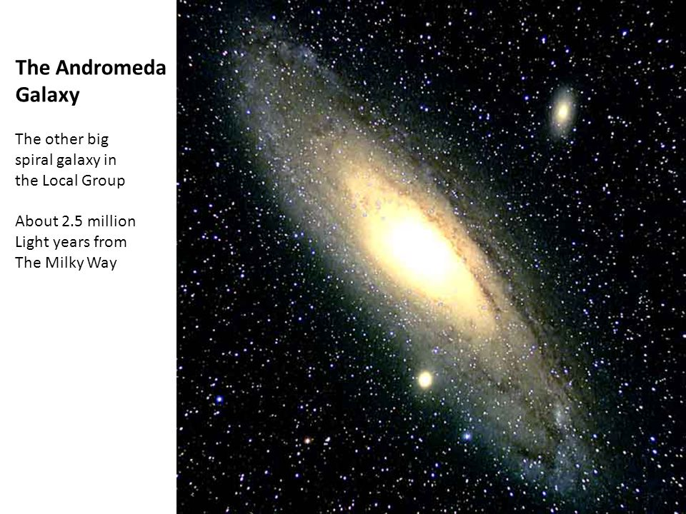 The Andromeda Galaxy The other big spiral galaxy in the Local Group About 2.5 million Light years from The Milky Way