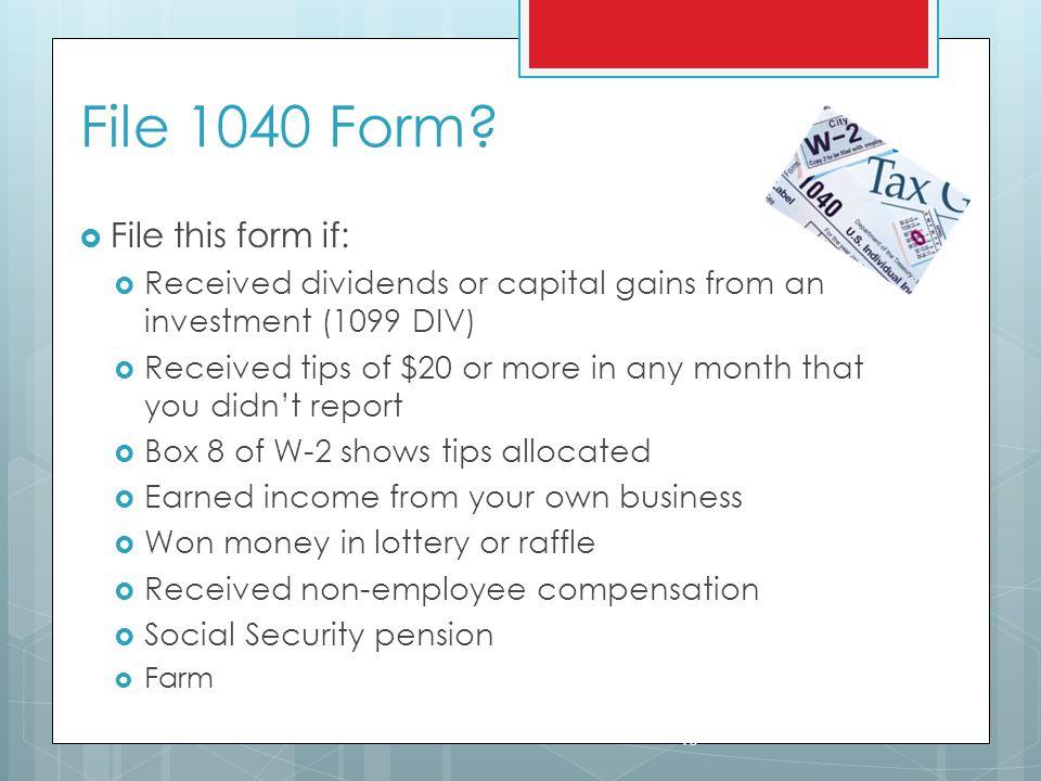 File 1040 Form.