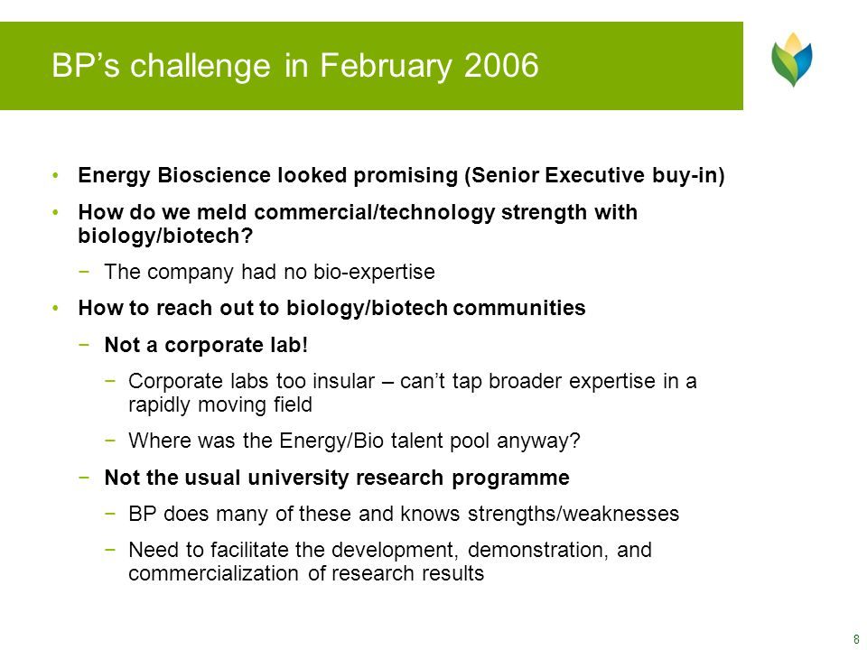 BP's challenge in February 2006 Energy Bioscience looked promising (Senior Executive buy-in) How do we meld commercial/technology strength with biolog