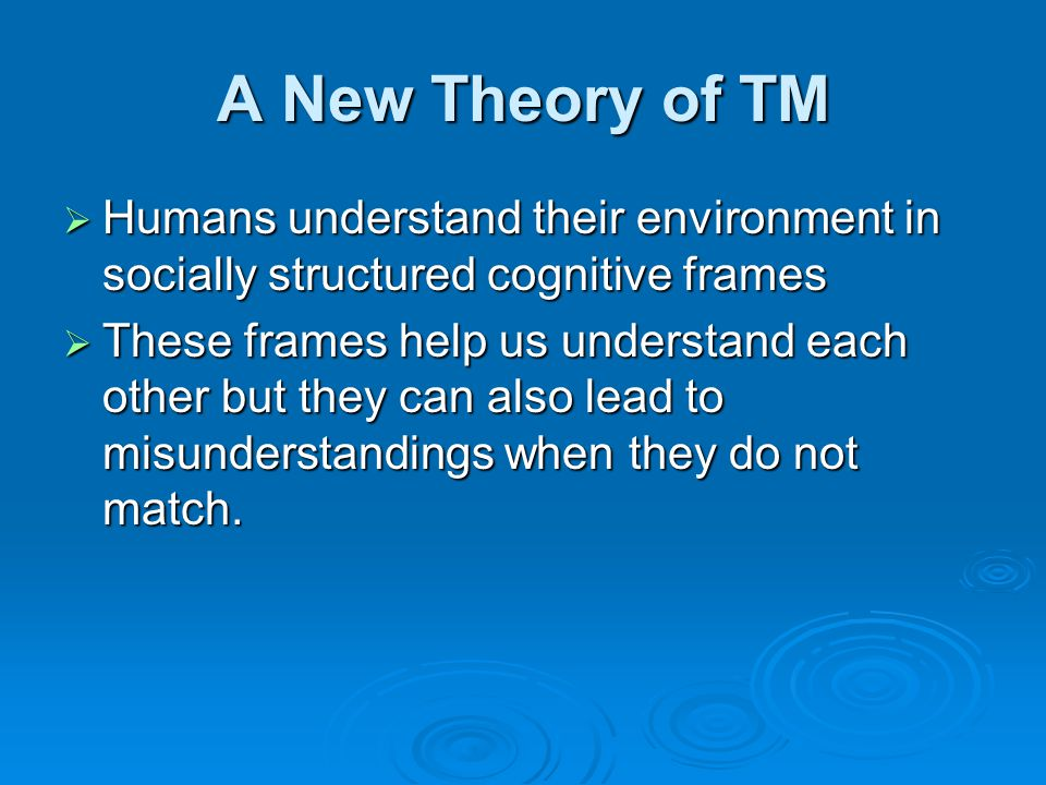 A New Theory of TM  Humans understand their environment in socially structured cognitive frames  These frames help us understand each other but they can also lead to misunderstandings when they do not match.
