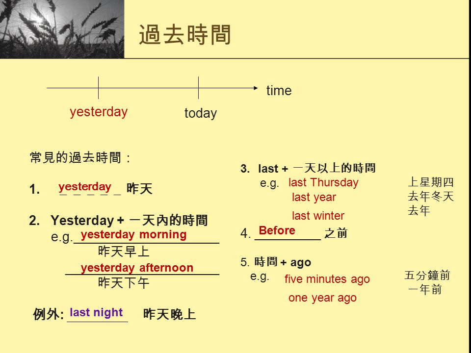 過去時間 常見的過去時間: 1. _____ 昨天 2. Yesterday + ㄧ天內的時間 e.g.____________________ 昨天早上 _____________________ 昨天下午 例外 : 昨天晚上 3.last + ㄧ天以上的時間 e.g. 上星期四 去年冬天 去年