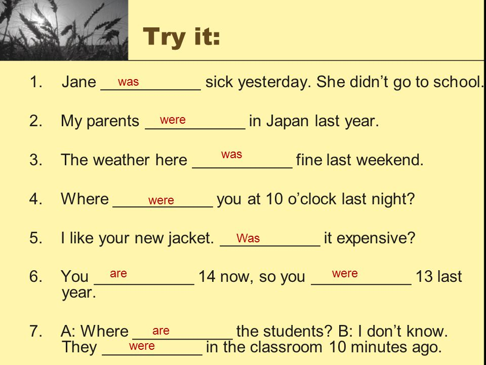 Try it: 1.Jane ___________ sick yesterday. She didn't go to school.