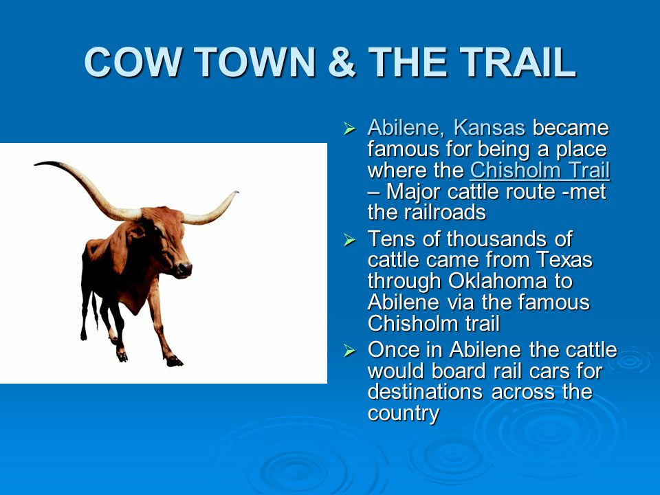 COW TOWN & THE TRAIL  Abilene, Kansas became famous for being a place where the Chisholm Trail – Major cattle route -met the railroads  Tens of thousands of cattle came from Texas through Oklahoma to Abilene via the famous Chisholm trail  Once in Abilene the cattle would board rail cars for destinations across the country