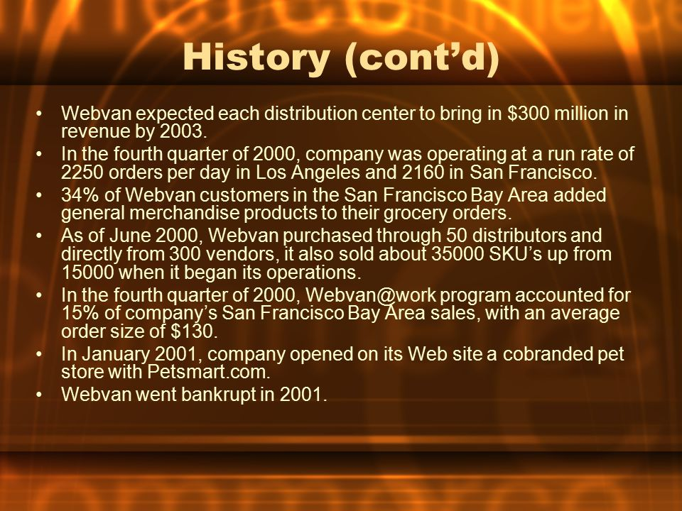 History (cont'd) Webvan expected each distribution center to bring in $300 million in revenue by 2003.