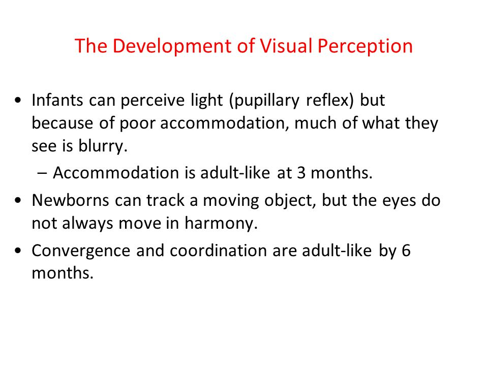 The Development of Visual Perception Infants can perceive light (pupillary reflex) but because of poor accommodation, much of what they see is blurry.
