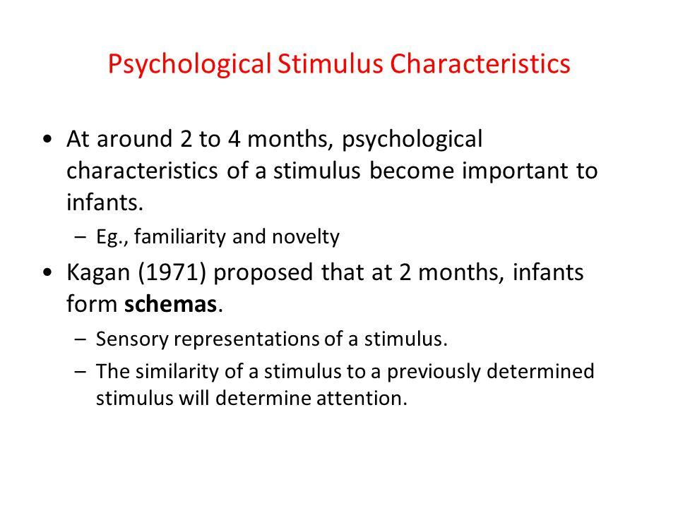 Psychological Stimulus Characteristics At around 2 to 4 months, psychological characteristics of a stimulus become important to infants. –Eg., familia