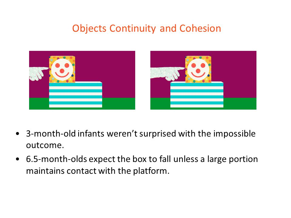 Objects Continuity and Cohesion 3-month-old infants weren't surprised with the impossible outcome. 6.5-month-olds expect the box to fall unless a larg
