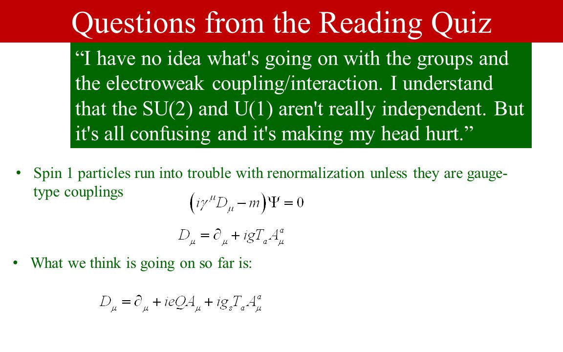Questions from the Reading Quiz I have no idea what s going on with the groups and the electroweak coupling/interaction.