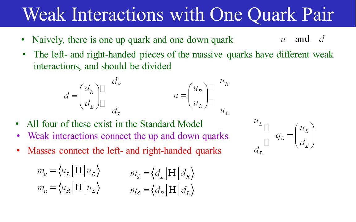 Weak Interactions with One Quark Pair The left- and right-handed pieces of the massive quarks have different weak interactions, and should be divided Weak interactions connect the up and down quarks Naively, there is one up quark and one down quark All four of these exist in the Standard Model Masses connect the left- and right-handed quarks