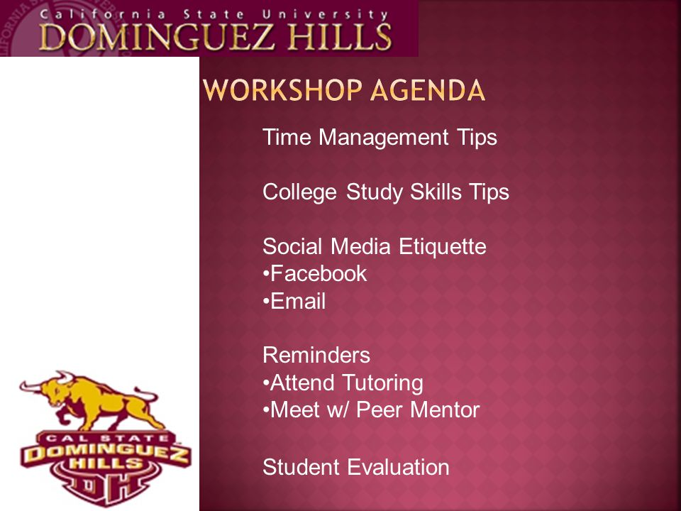 Time Management Tips College Study Skills Tips Social Media Etiquette Facebook Email Reminders Attend Tutoring Meet w/ Peer Mentor Student Evaluation