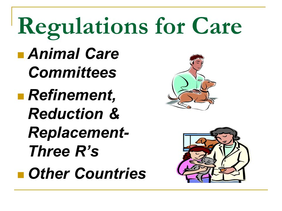 Regulations for Care Animal Care Committees Refinement, Reduction & Replacement- Three R's Other Countries