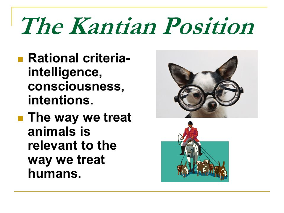 The Kantian Position Rational criteria- intelligence, consciousness, intentions.