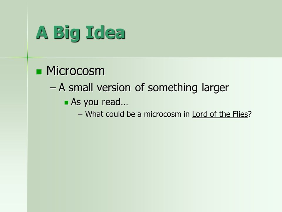 A Big Idea Microcosm Microcosm –A small version of something larger As you read… As you read… –What could be a microcosm in Lord of the Flies?