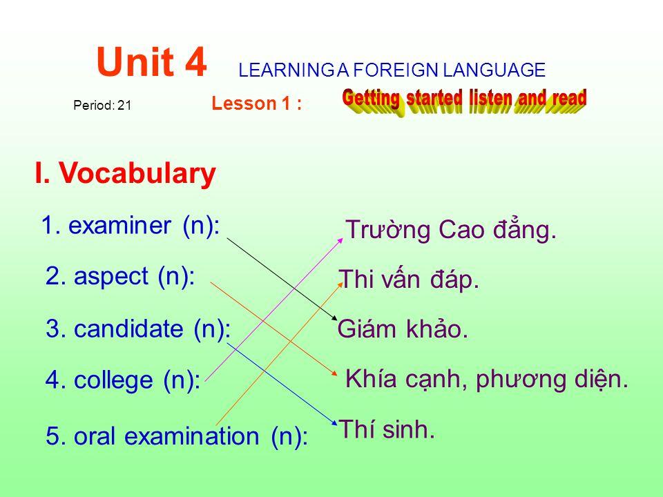 2. aspect (n): 1. examiner (n): 3. candidate (n) : 5.