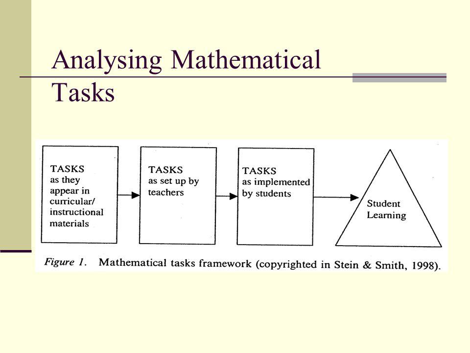 Analysing Mathematical Tasks