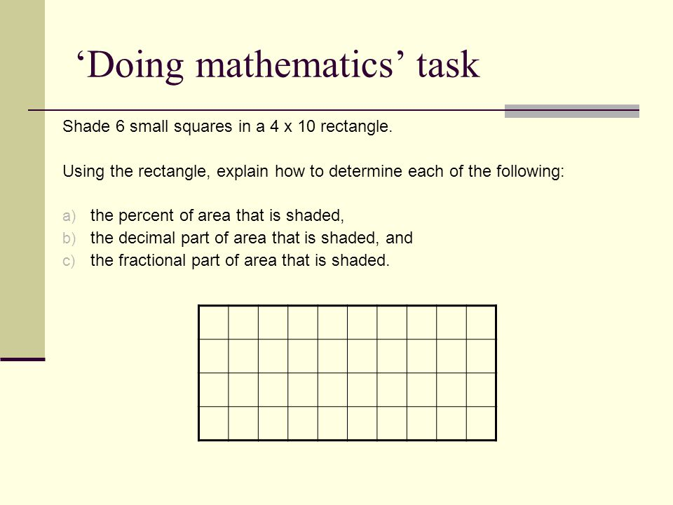 'Doing mathematics' task Shade 6 small squares in a 4 x 10 rectangle.
