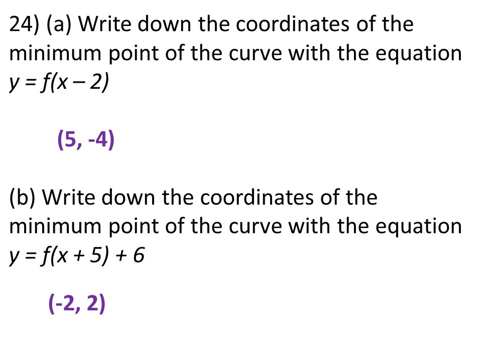 24) (a) Write down the coordinates of the minimum point of the curve with the equation y = f(x – 2) (5, -4) (b) Write down the coordinates of the mini