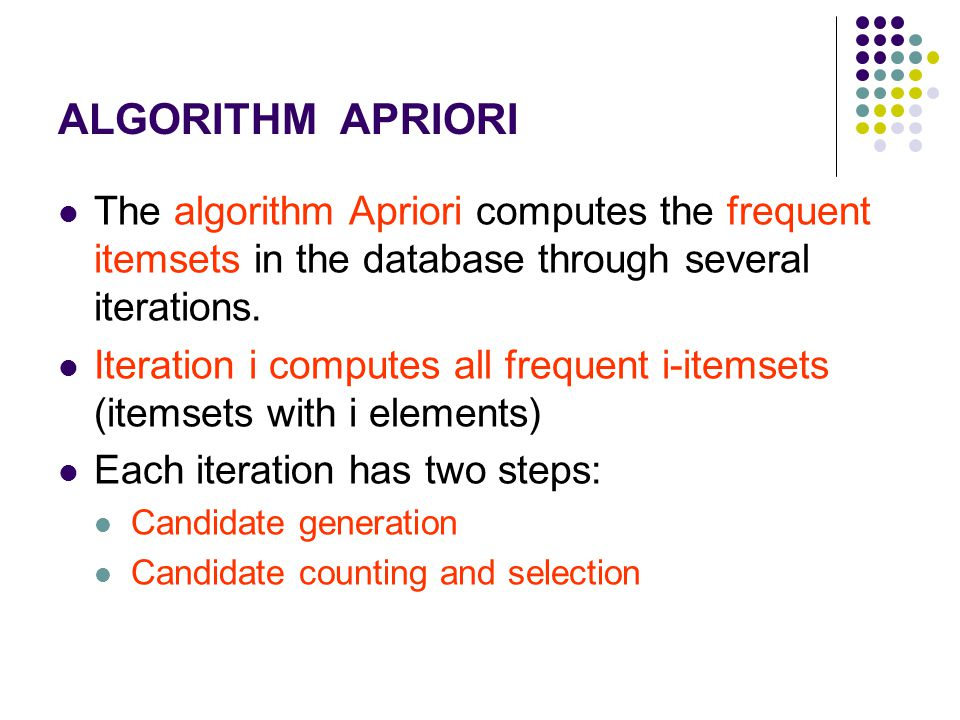 The algorithm Apriori computes the frequent itemsets in the database through several iterations. Iteration i computes all frequent i-itemsets (itemset