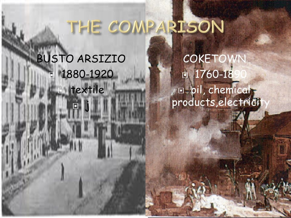 BUSTO ARSIZIO  1880-1920  textile  j COKETOWN  1760-1890  oil, chemical products,electricity