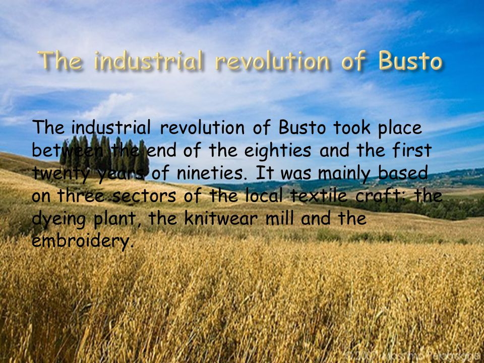 The industrial revolution of Busto took place between the end of the eighties and the first twenty years of nineties.