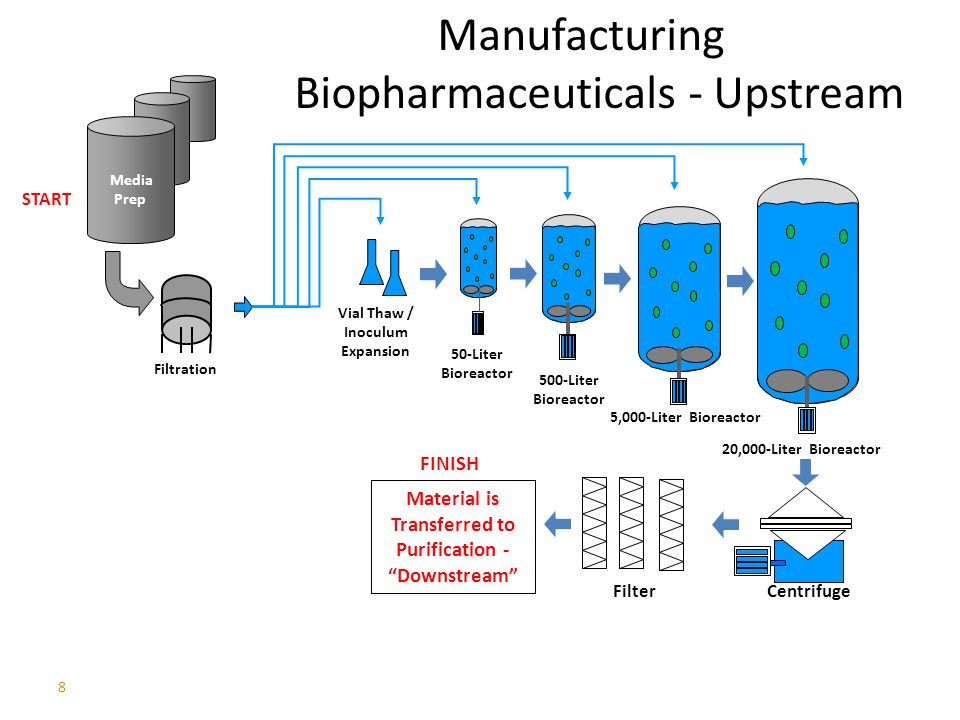 8 Manufacturing Biopharmaceuticals - Upstream Centrifuge Filter Vial Thaw / Inoculum Expansion 500-Liter Bioreactor 50-Liter Bioreactor Filtration Media Prep 5,000-Liter Bioreactor 20,000-Liter Bioreactor Material is Transferred to Purification - Downstream START FINISH