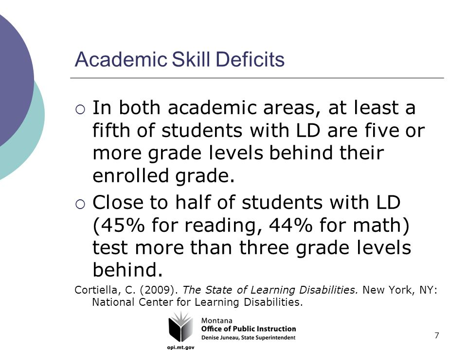 7 Academic Skill Deficits  In both academic areas, at least a fifth of students with LD are five or more grade levels behind their enrolled grade.