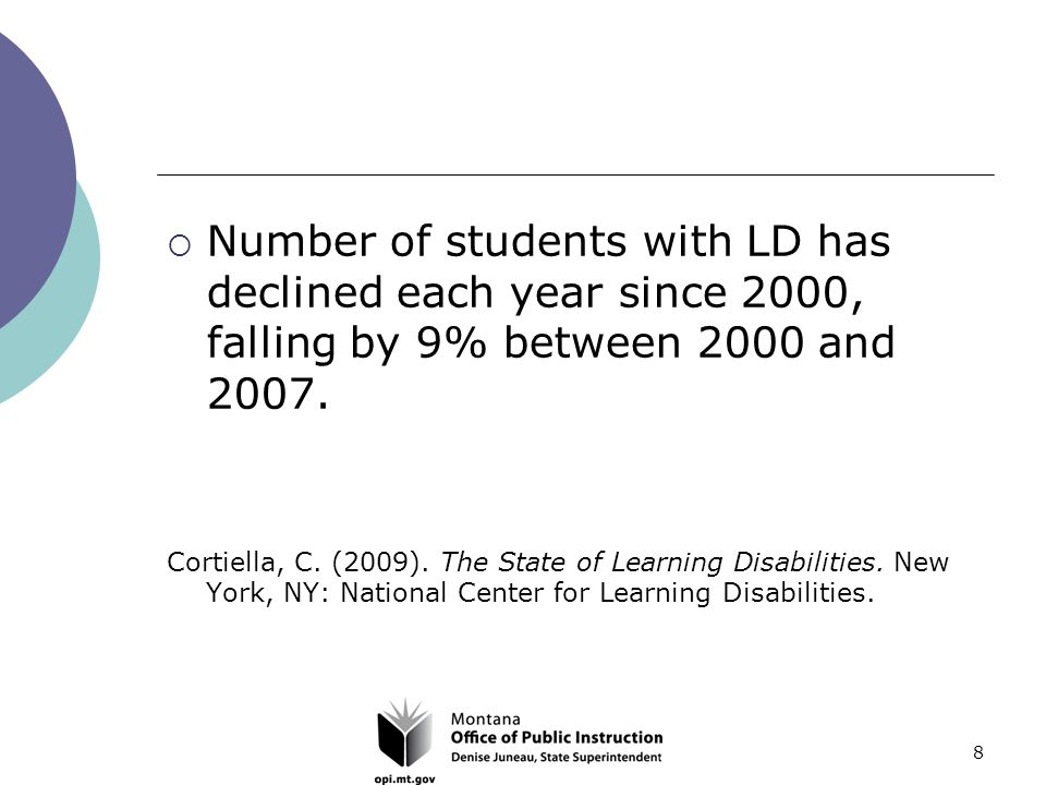 8  Number of students with LD has declined each year since 2000, falling by 9% between 2000 and 2007.