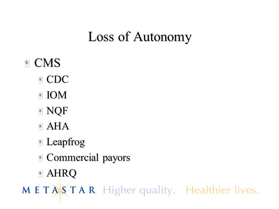 Loss of Autonomy CMSCDCIOMNQFAHALeapfrog Commercial payors AHRQ