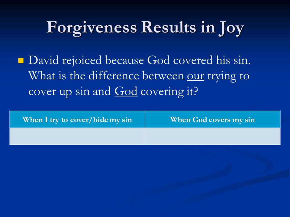 Forgiveness Results in Joy David rejoiced because God covered his sin.