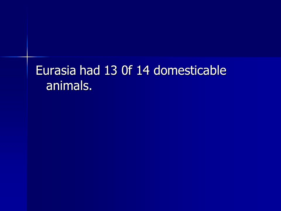 Eurasia had 13 0f 14 domesticable animals.
