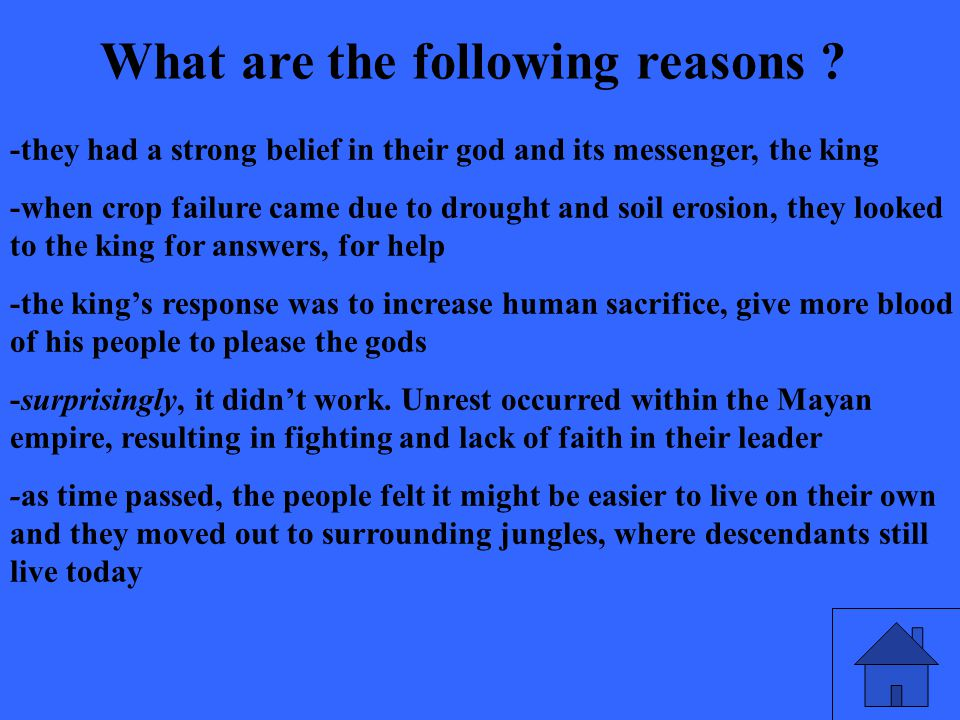 What are the following reasons .