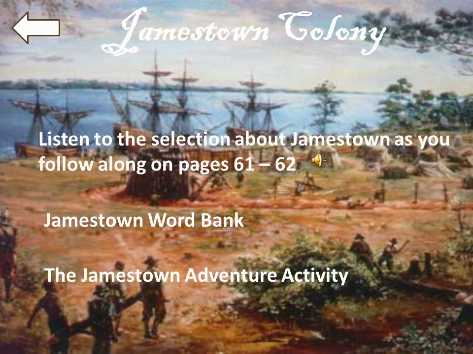 Jamestown Word Bank Marsh: This wet area had dirty, salty water and mosquitoes that carried deadly diseases.