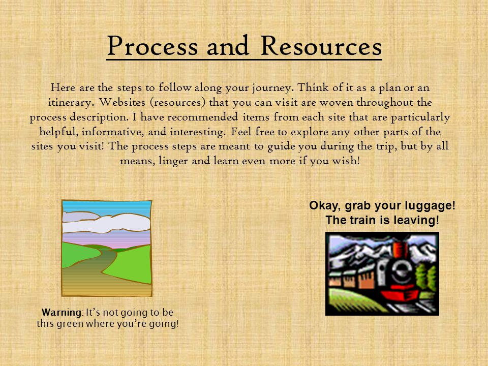 Process and Resources Here are the steps to follow along your journey. Think of it as a plan or an itinerary. Websites (resources) that you can visit