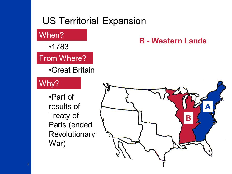 5 US Territorial Expansion A When. From Where. Why.