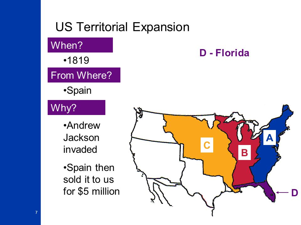 7 US Territorial Expansion A When. From Where. Why.