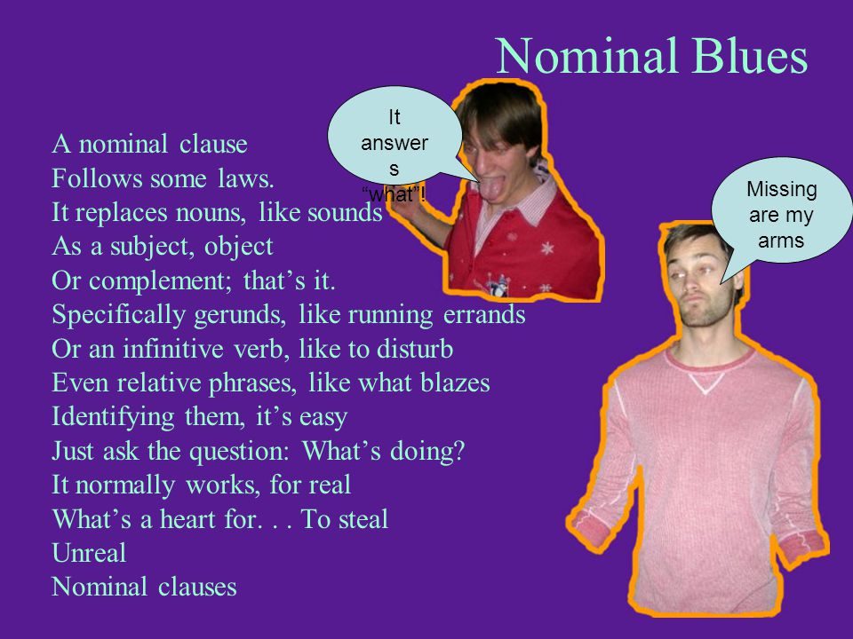 Nominal Blues A nominal clause Follows some laws. It replaces nouns, like sounds As a subject, object Or complement; that's it. Specifically gerunds,