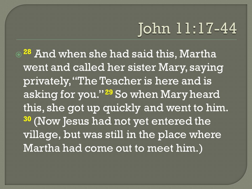 """ 28 And when she had said this, Martha went and called her sister Mary, saying privately, """"The Teacher is here and is asking for you."""" 29 So when Mar"""