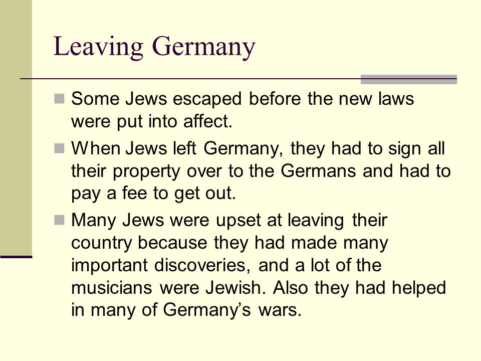 Who stayed.Only a few Jews stayed in Germany.