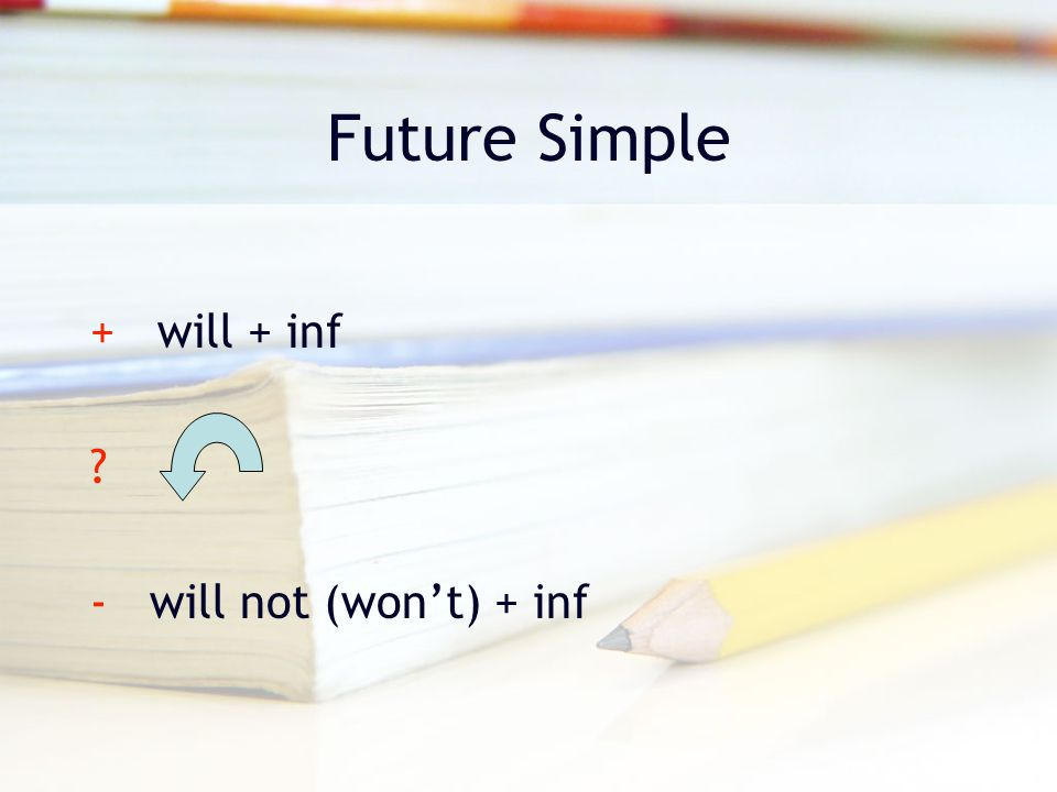 Future Simple + will + inf ? - will not (won't) + inf