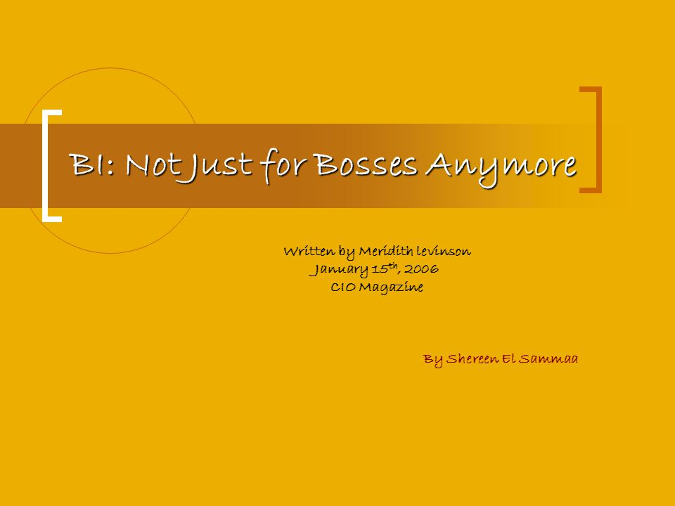 BI: Not Just for Bosses Anymore Written by Meridith levinson January 15 th, 2006 CIO Magazine By Shereen El Sammaa