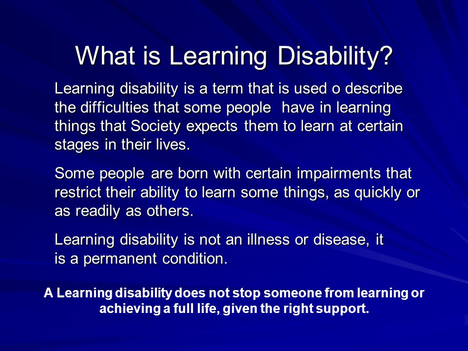 What is Learning Disability.