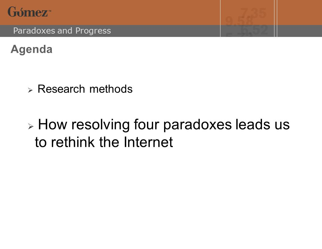Paradoxes and Progress Research Methods  Trends in consumer behavior and attitudes  Business and product strategies  The utility, usability and reliability of the Internet offering  The integration of the Internet into the overall value proposition