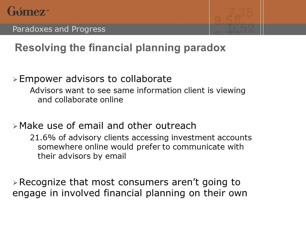 Paradoxes and Progress Financial institutions face the paradox of online consumer interest in aggregation  Online Users, especially current and prospective online bankers, are interested in aggregation  They are so interested that some even sign up for it  But they are not so interested that they use it